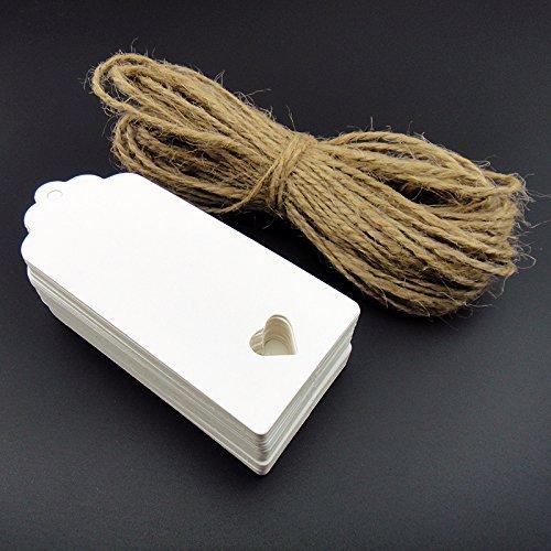 Shentian Bigliettini di carta kraft da personalizzare, con cuore ritagliato, 100 pezzi, per confetti, regali, valige, prezzi, ecc., colore: bianco