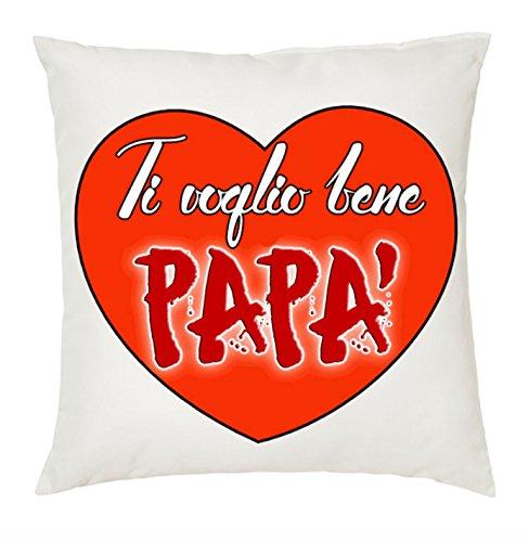 Cuscino 40x40 Scritta Ti Voglio Bene Papa' Cuore Idea Regalo Festa Compleanno