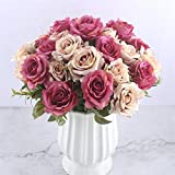 Mrjg Kunstblumen 6 Köpfe Weiße Rose Künstliche Blumen Seide Hohe Qualität for Hochzeitsdekoration Winter Gefälschte Große Blumen Rot for Wohnkultur Herbst Grünpflanzen (Color : White Flowers) - 4