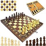 Ajedrez magnético de madera, ajedrez plegable para niños, educativo (magnético, 34 x 34 cm)