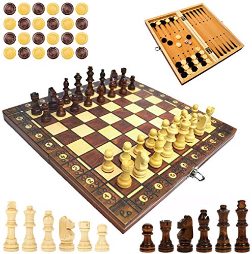 Ajedrez magnético de madera, ajedrez plegable para niños, educativo (magnético, 29 x 29 cm)