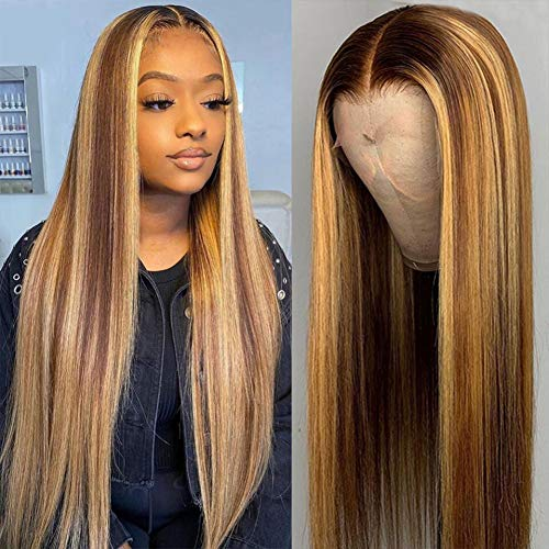 4/27 Highlight 4x4 Lace Closure Wigs Human Hair Brazilian Straight Ombre Colored Human Hair Wig Pre Plucked YMSGIRL Lace Front Closure Human Hair Wigs Natural Hairline (24)…