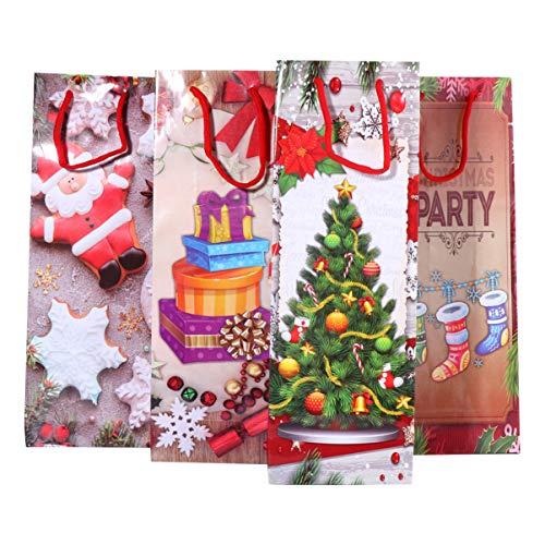 BESPORTBLE 4 Piezas Bolsas de Regalo de Vino de Navidad Bolsas de Papel Artesanal a Granel Bolso Bolsas Empaque de Vino para Licor de Regalo de Champagne
