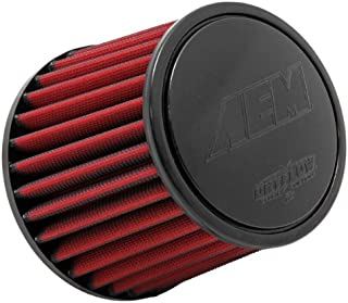AEM 21-201DK Universal DryFlow Clamp-On Air Filter: Round Tapered; 2.5 in (64 mm) Flange ID; 5.125 in (130 mm) Height; 6 in (152 mm) Base; 5.125 in (130 mm) Top