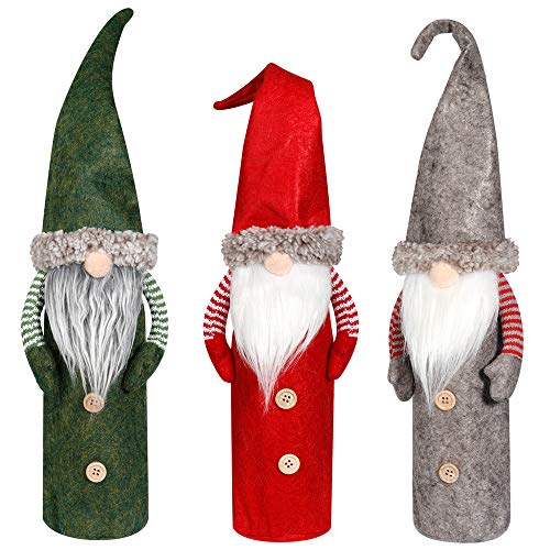 D-FantiX Christmas Gnomes Wine Bottle Cover, Handmade Swedish Tomte Gnomes Wine Bottle Toppers Santa Claus Bottle Bags with Drawstring Style Holiday Home Christmas Decorations Gift 3 Pack