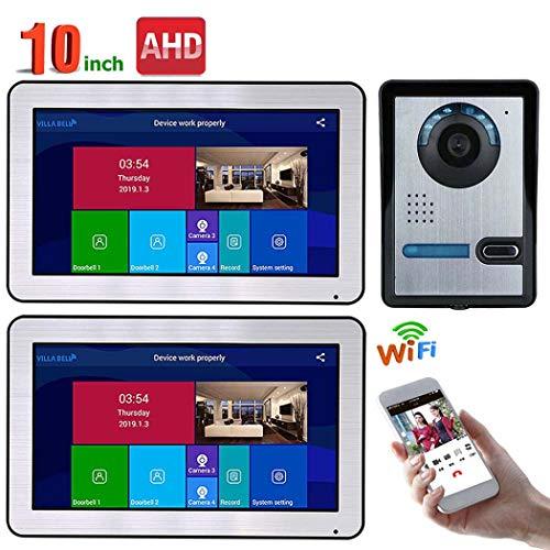 TYXS video-deurintercom, deurbel, intercomsysteem, deurintercom met 10 inch 2-monitors, voor 1-familiehuis, touch-knop, nachtzicht, snapshot, opname, functies voor talking op afstand