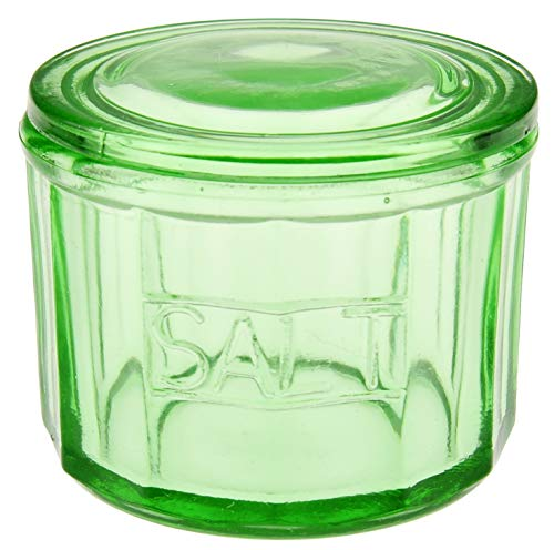 HOME-X Depression Style Green Glass Salt Cellar with Lid, Retro Kitchen Decor, Wedding Gift-3'H x 4'D