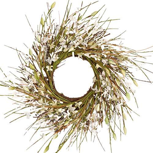 Bibelot 14 inch Artificial Forsythia Flower Wreath, All Year Around Wreath for Front Door, Wedding Window Home Wall Indoor Front Door Decor (White, 14in)