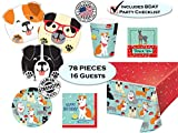 Puppy Dog Party Pups Birthday Party Supplies - Dog Themed Birthdays - Dog Shaped Dinner Plates, Dessert Plates, Napkins, Cups, Tablecover, Thank You Stickers & Birthday Checklist - Set for 16 guest - Made in the USA