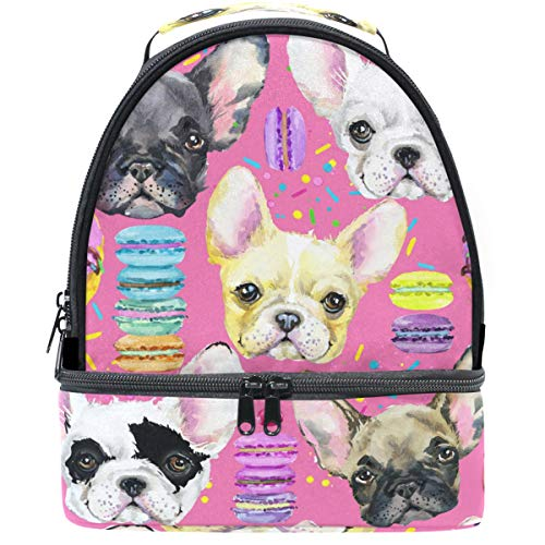 Naanle French Bulldog Macarons Lunch Bags for Women Men Youth Lunch Boxes Insulated Lunch Bag with Shoulder Strap Double Decker Dual Compartment Waterproof Reusable Lightweight Gift