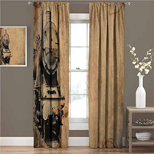 June Gissing Steam Engine Blacked Out Curtain Antique Old Iron Train Aged Sepia Grunge Style Design Industrial Theme Artsy Print The Best Choice for Bedroom and Living Room W84xL96 Brown