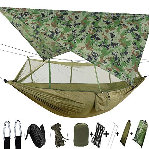 Upgrade Ultralight Portable Nylon Camping Hammock Mosquito Net with Rain Fly Tent Tarp for Outdoor Windproof, Anti-Mosquito, Swing Sleeping Hammock Bed (Army Green)