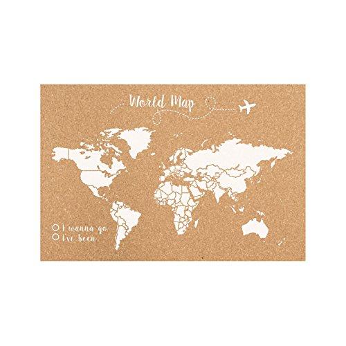 Decowood - Mapa Mundi de Corcho, Grande, para Marcar Tus Viajes por el Mundo y Colgar...