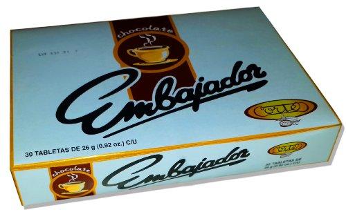 Sweet Dominican Chocolate Embajador Box of 30 Bars / Tablets
