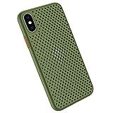 Funda Compatible con Silicone Case para iPhone X, Carcasa de Silicona Suave Antichoque Bumper Anti-Sobrecalentamiento Case para iPhone XS, Verde claro