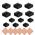 18 pcs Raspberry Pi Heatsink Kit Aluminum + Copper + Thermal Conductive Adhesive Tape for Cooling Cooler Raspberry Pi 3 B+, Pi 3 B, Pi 2, Pi Model B+
