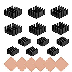 18 pcs Raspberry Pi Heatsink Kit Aluminum + Copper + Thermal Conductive Adhesive Tape for Cooling Cooler Raspberry Pi 3 B+, Pi 3 B, Pi 2, Pi Model B+