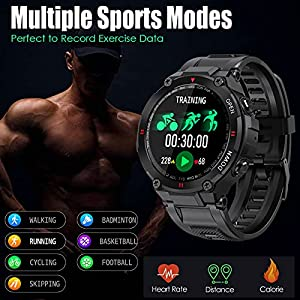 Smart Watch for Men Outdoor Waterproof Military Tactical Sports Watch Fitness Tracker Watch with Heart Rate Monitor Pedometer Sleep Tracker Compatible with iPhone Samsung (Black)