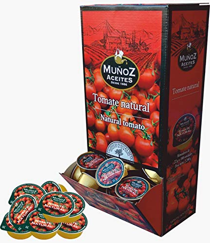 Monodosis de Tomate Natural Triturado. Expositor de 100 monodosis de 22 gramos