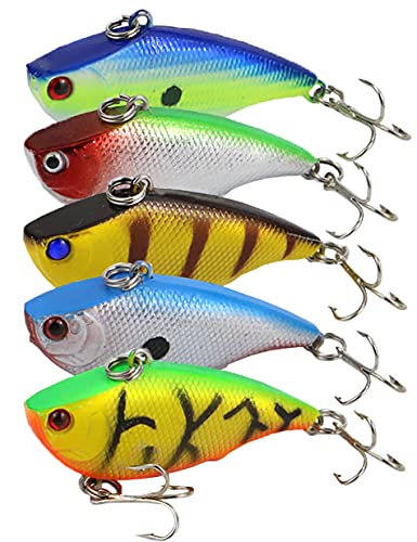 Beoccudo Lipless Crankbait Rattle Fishing Lures for Bass Pike Walleye, Saltwater Freshwater Sinking Swimbaits Hard Plastic VIB Lures
