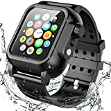 Waterproof Apple Watch Case Series 4 44mm Band, Temdan Built-in Screen Protector Full Body Protective Rugged case with Soft Silicone Apple Watch Band for Apple Watch Series 4 44mm 2018 (Black)