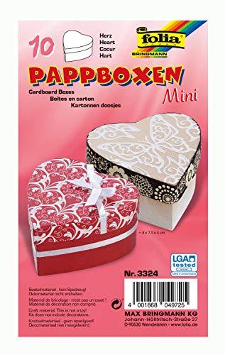 folia 3324 - Mini Geschenkboxen, Pappschachteln aus Karton, herzförmig, natur, 10 Stück, 8 x 7,5 x 4 cm - ideal zum Verzieren und Verschenken