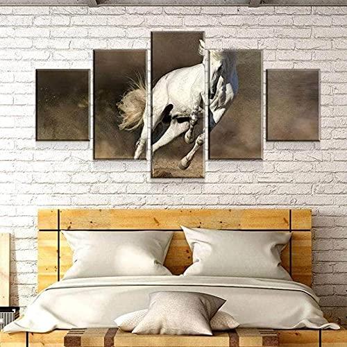 Cuadro sobre Lienzo - 5 Piezas - Impresión En Lien Caballo Blanco 5 Piezas Imágenes Pared Decoración De Dormitorio Modular Regalos De Cumpleaños De Navidad