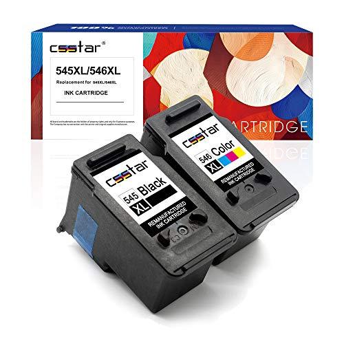 CSSTAR Rigenerate Cartucce d inchiostro Compatibili per 545 546 PG-545XL CL-546XL per Pixma MG2550S MG2950 MG2450 MG3050 MG3051 MX495 IP2850 MG3052 MG3053 MG2900 Stampante, Nero e Tri-color