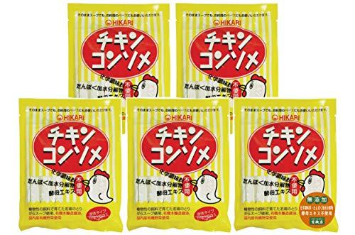 無添加 ヒカリ チキンコンソメ・液体タイプ (10g×8)×5個★ ネコポス ★原材料:とりがらスープ、食塩、醤油(有機)(大豆、小麦を含む)、砂糖、たまねぎ(有機)、にんじん(有機)、キャベツ(有機)、セルリー(有機)、香辛料