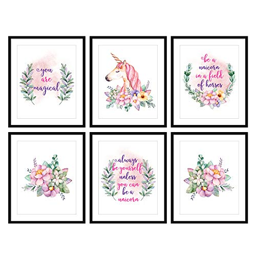 Bestbuddy Pet Set of 6 (8X10) Unframed Watercolor Unicorn Wall Art Prints Unicorn Quotes Girls Room Decor N022