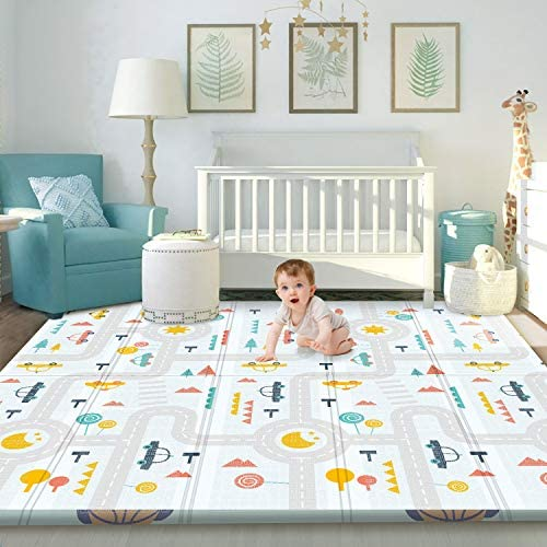 Gimars XL 0 6 inch Thicker Reversible Foldable Baby Play Mat Waterproof Foam Floor Baby Crawling product image