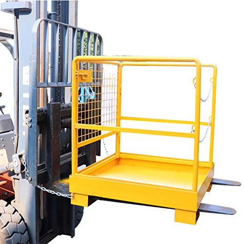 Forklift Safety Cage Aerial Rails 36x36 Inch Forklift Safety Cage Work Platform Heavy Duty Steel Construction Fold Down Lift Basket 1102 Lbs Capacity (36