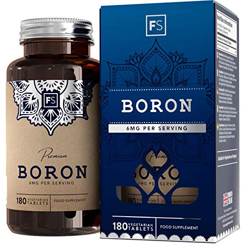 FS Boron Supplement | 180 Chelate Vegan Capsules | 6mg Per Serving - 3 Month Supply | Nootropic Supplements | Gluten, Dairy Free & Non-GMO | Made in The UK in ISO Licensed Facilities