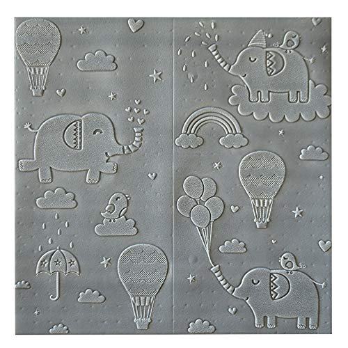 H&RB PE-Schaum-Wand-Paneele, Nette Karikatur-Self-Adhesive Wandaufkleber Für Schlafzimmer Baby-Raum Kinderzimmer Wohnzimmer 70 X 70Cm,Grau,5PCS