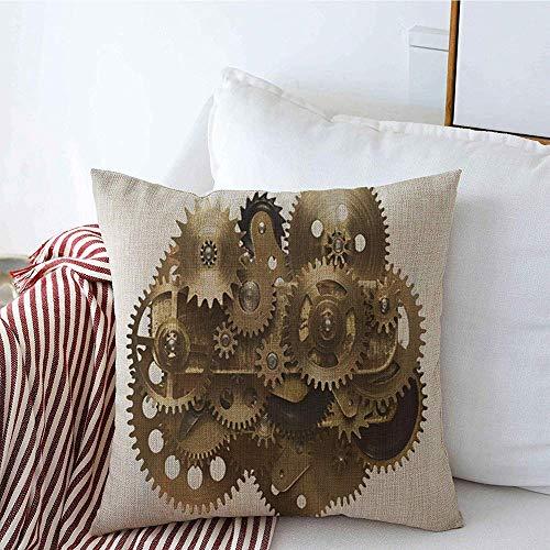 New-WWorld-Shop Kissenbezüge Home Decor Steampunk Metall Collage von Uhrwerk Zahnräder Zahnrad Uhr Steam Couch Kissen