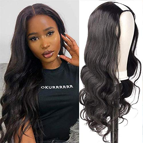 AliPearl Hair U Part Wigs Human Hair Body Wave Wig, Brazilian Virgin Human Hair Glueless Full Head Clip In Half Wigs 2x4 U Shape Wigs Body Wave Human Hair Wigs for Black Women (18inch Body Wave)