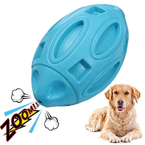 Hundespielzeug Quietsch Spielzeug Gummi-Welpen-Kau Ball mit Quietscher, unzerstörbares, langlebiges Hunde Kau-Rugby-Langeweile Hartes interaktives Haustierspielzeug für mittlere und große Hunde