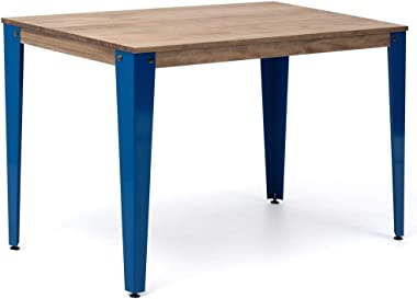 Table Lunds Bureau, Salle à manger ou Bureau 10 x 60 x 75 cm Bleu en bois massif de pin Finition Vintage Style Industrial Box