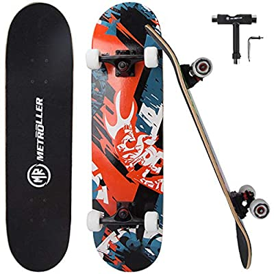 "METROLLER Skateboard, 31""x 8"" Pro Complete Standard Skate Boards for Girls Boys Beginner, 7 Layer Canadian Maple Double Kick Concave Skateboards for Kids Youth Adult Teens"