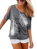 Yidarton Sommer Frauen Bluse weg von der Schulter Short Sleeve Feder Druck Muster Jumper Tops Pullover T-Shirt, Grau, XL