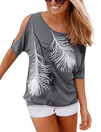 Yidarton Sommer Frauen Bluse weg von der Schulter Short Sleeve Feder Druck Muster Jumper Tops Pullover T-Shirt, Grau, XXL