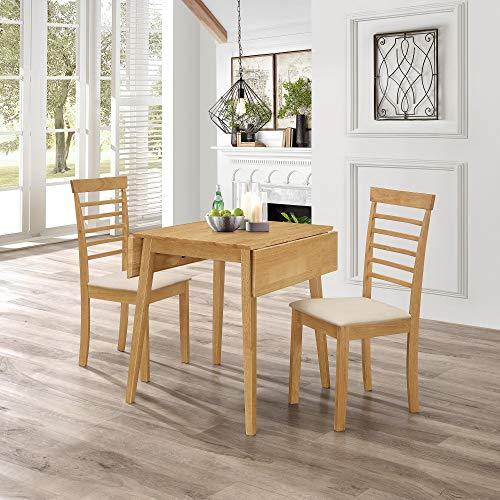 Hallowood Ledbury Small Solid Wooden Drop Leaf Dining Table and 2 Chairs Set Kitchen, Rubberwood, Light Oak Finish, LEB-TAB970-SET(2)-L