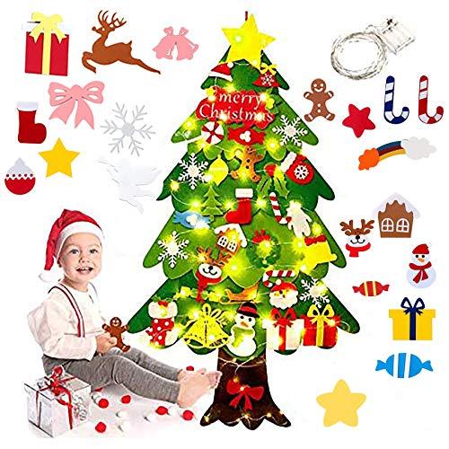 Shengruili Fieltro Árbol de Navidad,Juego de árboles de Navidad de Fieltro34 Piezas de Adornos Colgantes de Fieltro Desmontables,DIY del árbol de Navidad Decoración(con Cadena de luz LED) (B)