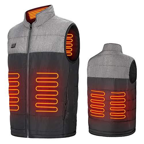 ISSYZONE Elektrisch Beheizte Weste, 7000 mAh USB-Lade Beheizte Warme Jacke Heizweste mit 4 Heizzonen, 2 Separate Temperaturregelung für Motorrad Jagd Outdoor Camping Skifahren Wandern, 45-65°C (XL)