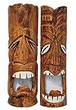 Juego de 2 máscaras Tiki de 50 cm en estilo hawaiano, aspecto rústico, de madera, para pared, isla de Pascua