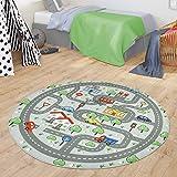 TT Home Alfombra Infantil Alfombra De Juego Bebé Niños Carreteras Motivo Ciudad Coche, Color:Gris, Tamaño:Ø 150 cm Rund