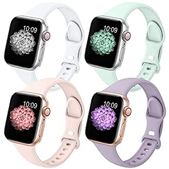 GeekSpark 4 Pack Slim Band Compatible with Apple Watch Band 38mm 40mm 42mm 44mm for Women Men Thin Narrow Soft Silicone Replacement Strap Band for iwatch SE/Series 6/5/4/3/2/1