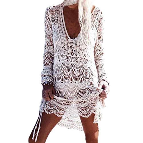 JFAN Copricostume Mare Donna Pizzo Camicia Sexy Kaftan Tunica Copricostume da Bagno Donna Bikini Cover Up