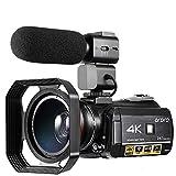 Videocámara 4K ORDRO 3.1 '' IPS Pantalla Táctil UHD 1080P 60FPS IR Night Vision Recorder, 30x Digital Zoom Wi-Fi Videocámara con micrófono Vlogging para Youtube