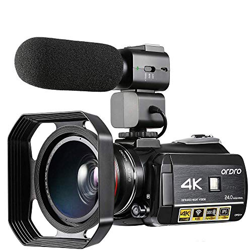 4K Video Camera ORDRO Camcorder 3.1'' IPS Touch Screen UHD 1080P 60FPS IR Night Vision Camera Recorder, 30x Digital Zoom Wi-Fi Camcorder with Microphone Vlogging Camera for YouTube